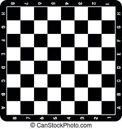 gameboard, ou, chess., noir, white., loisir, vecteur, échecs, sport, panneau jeu, illustration