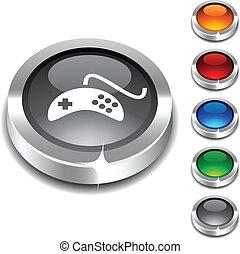 Gamepad 3d button set. Vector illustration.