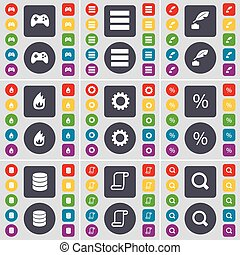 Gamepad, Apps, Ink pen, Fire, Gear, Percent, Database, Scroll, Magnifying glass icon symbol. A large set of flat, colored buttons for your design. Vector