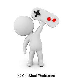gamepad, caractère, haut, jeu, vidéo, tenue, contrôleur, 3d