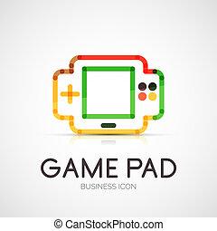 gamepad, companhia, conceito, logotipo, negócio