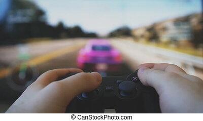 gamepad, contrôleur jeu, tv., vidéo, courses, jouer, hands., homme