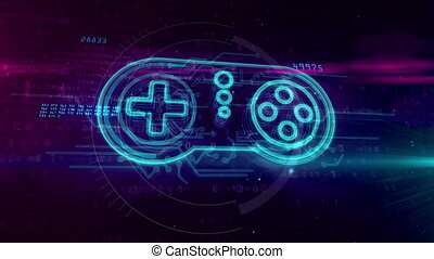 Retro gamepad controller 3D hologram on digital background. Gaming, 5G, play, pad and online game abstract concept.