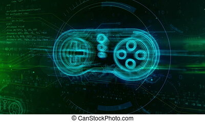 Retro gamepad controller hologram on digital background. Gaming, play, joystick, pad and online game abstract concept.