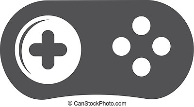 Gamepad icon in black on a white background. Vector illustration