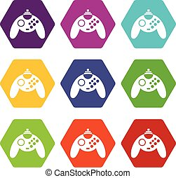 Gamepad icon set color hexahedron