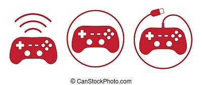 Gamepad icons set vector illustration in flat style