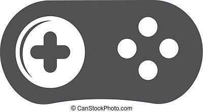 gamepad, illustrazione, fondo., vettore, nero, bianco, icona