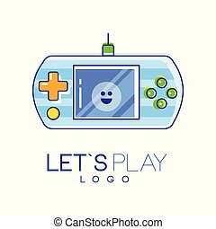 Gamepad logo with screen and green-orange buttons to play. Digital entertainment. Linear emblem with blue fill. Vector design for game store, mobile app or web site