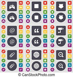 Gamepad, Media stop, Police badge, Mail, Quotation mark, CCTV, Clip, Globe, Magnifying glass icon symbol. A large set of flat, colored buttons for your design. Vector