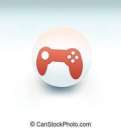 gamepad on white ball, 3d like vector