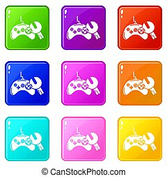 Gamepad repair icons set 9 color collection