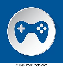 gamepad - simple blue icon on white button