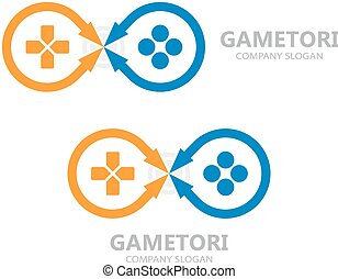 gamepad, symbole, vecteur, manche balai, logo., ou, icône