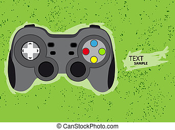 Gamepad - Vector console or PC joystick on black background