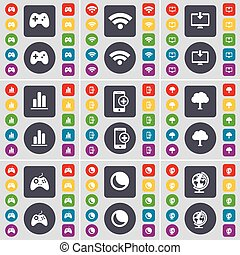 Gamepad, Wi-Fi, Monitor, Diagram, Smartphone, Tree, Gamepad, Moon, Globe icon symbol. A large set of flat, colored buttons for your design. Vector