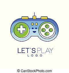 Gamepad with buttons to play. Gaming controller logo. Linear emblem with blue, green and yellow fill. Colorful vector design gadget store, mobile app or website