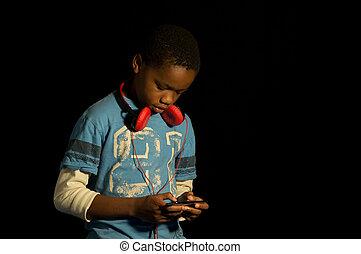 gamer., américain, africaine