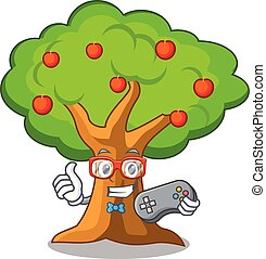 Gamer apples on tree branch the character