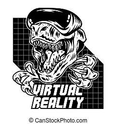 gamer, arcada, rex, t, virtual, jogo, dinossauro