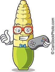 Gamer baby corn cartoon in the fridge