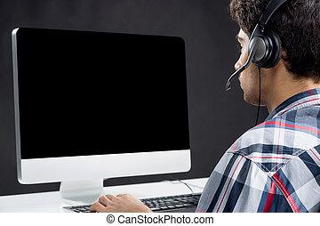 gamer., bagside udsigt, i, adolescent, boldspil spille video, hos, hans, computer