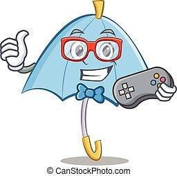 Gamer blue umbrella character cartoon