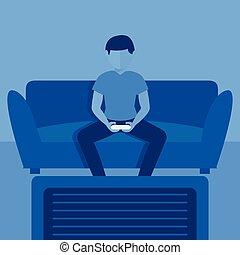Gamer boy playing video games vector illustration