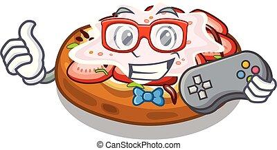 Gamer bread bruschetta above cartoon wooden table