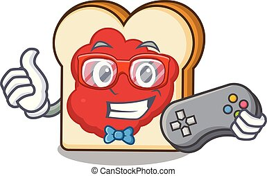 Gamer bread with jam mascot cartoon