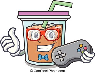 Gamer bubble tea mascot cartoon