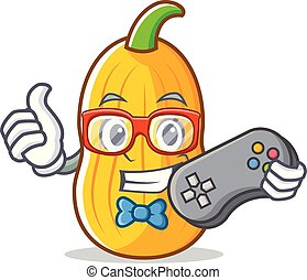 Gamer butternut squash mascot cartoon vector illustration