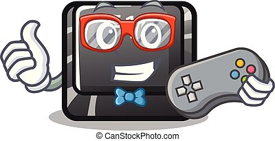 Gamer button f10 isolated with the cartoon