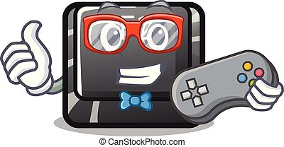 Gamer button f2 isolated with the character