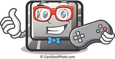 Gamer button P isolated with the character