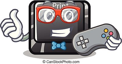 Gamer button print screen isolated with cartoon