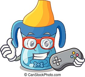 Gamer cartoon baby drinking from training cup