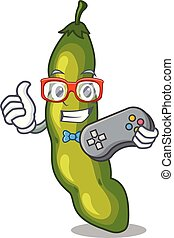 Gamer cartoon fresh green beans for cooking