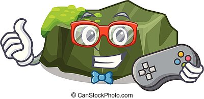 Gamer cartoon large stone covered with green moss vector...