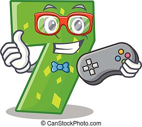 Gamer cartoon number seven on stone wall