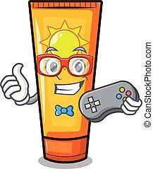 Gamer cartoon sun cream in bag makeup vector illustration