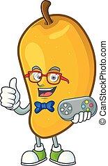 Gamer character mango fruit with cartoon mascot