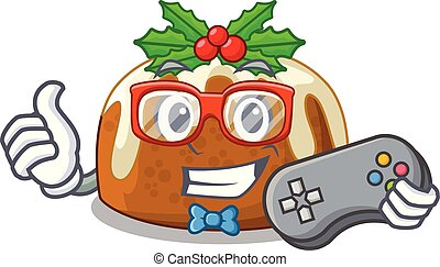 Gamer christmas pudding on dinning table cartoon