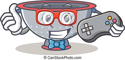 Gamer colander utensil character cartoon vector illustration