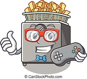 Gamer cooking french fries in deep fryer cartoon vector...