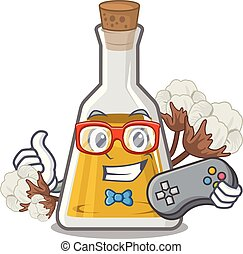 Gamer cottonseed oil in the cartoon shape vector ...