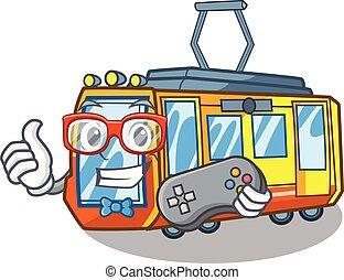 Gamer electric train toys in shape mascot