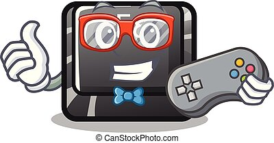 Gamer f8 button installed on computer mascot