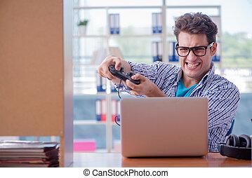 gamer, forfalden, spille computer boldspil, hjem hos