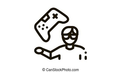 gamer gaming Icon Animation. black gamer gaming animated icon on white background